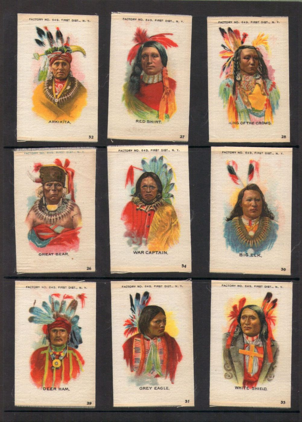 Antique 1910 Tobacco Cigarette Cards Silk Set Native